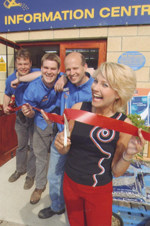 Opening of the outdoor information area by actress Malandra Burrows